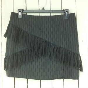 WAYF fringe brocade skirt
